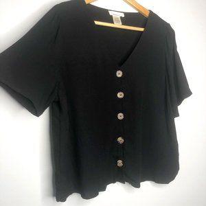 Urban Romantics Black Buttoned Blouse-L
